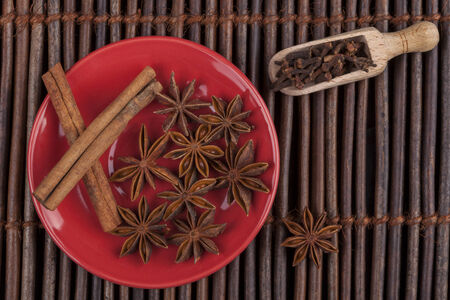 anis: Cinnamon sticks with star shape anis on red plate and wood background