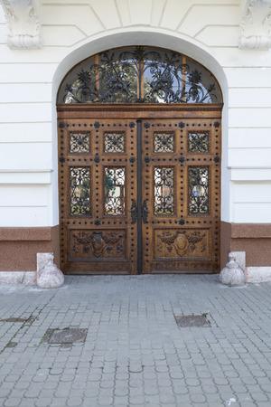 ornated: Vecchia porta di legno marrone ornata con ferro nero Archivio Fotografico