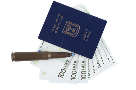 israel passport: Israelian passport with 100 euro banknotes and a rifle bullet isolated on white background