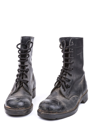 army boots: Pair of Black Dirty army boots isolated on white background Stock Photo