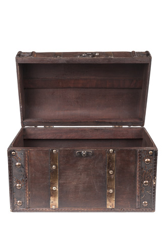 Old wood chest closed isolated on white background Archivio Fotografico