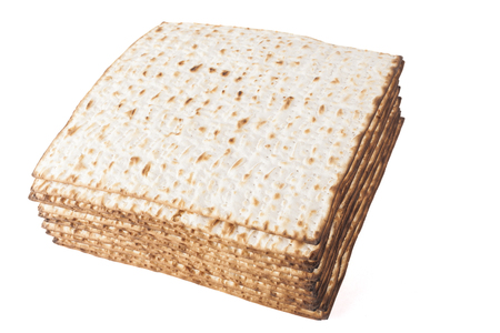 Matzot for pesach isolated on white background photo