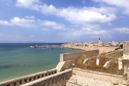 acre: Old city walls and harbor of acre in northen israel