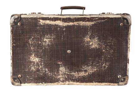 suitcase: Old Brown used and weathered suitcase isolated on white background