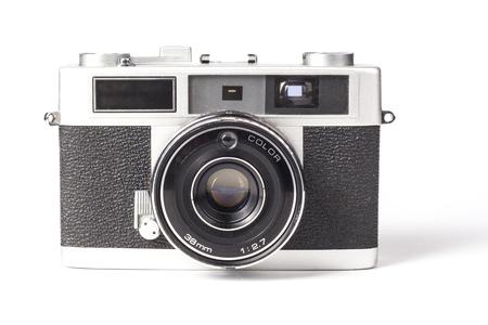 白い背景で隔離の古い銀塩フィルム カメラ