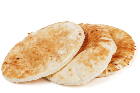 Traditional pitta stack isolated on white background
