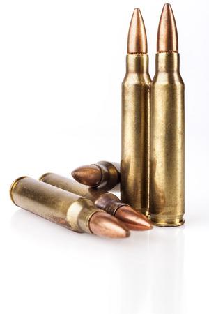 m16 ammo: Rifle Bullets Isolated on White Background Stock Photo