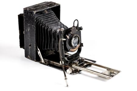 Old Photography Camera Isolated on White Background