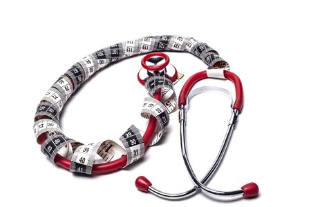 red stethoscope: Red Stethoscope With Black Measuring Tape Isolated on White