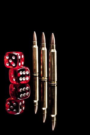 9mm ammo: Bullets isolated on black background with reflexion Stock Photo
