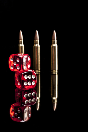 9mm ammo: Bullets isolated on black Background with reflexion