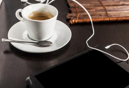 espreso: A white cup filled with delicious coffee Stock Photo