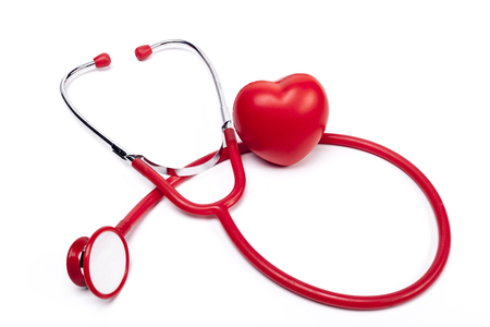 red stethoscope: Isolated Red Stethoscope and Red Heart on White Background Stock Photo