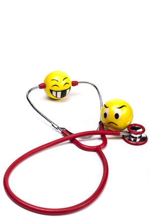 red stethoscope: Isolated Red Stethoscope With Smile on White Background