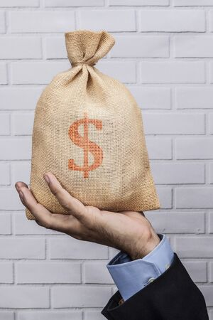 moneybag: Hand holding a sack of money and white brick background