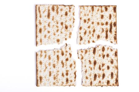 seider: Isolated Broken in Four Square Matzah Shmura Saved Jewish Pesach Tradition Stock Photo