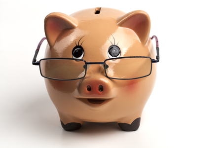 Piggy Bank With Glasses Isolated on White Background