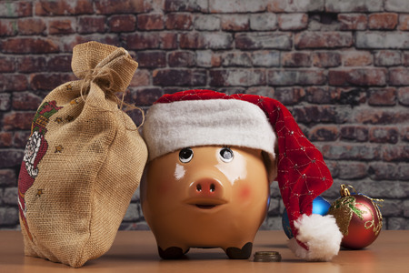 Piggy Bank with Dollars and Chtistmas Decorations Stok Fotoğraf
