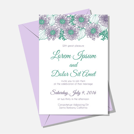 Pretty wedding invitation card with a gerber frame