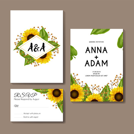 sunflowers wedding invitation card template design