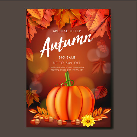Autumn Flyer or banner Template design with leaves, pumpkin and acorn
