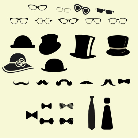 Hats glasses  mustaches and tie bows