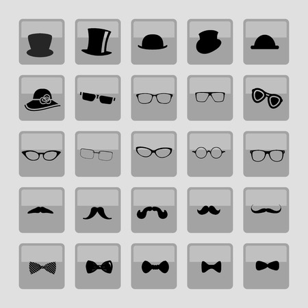 top hat: Hats glasses  mustaches and tie bows