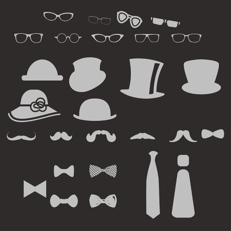 Hats glasses  mustaches and tie bows Vector