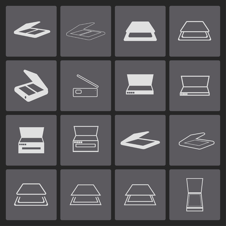 scanners icon set Vector