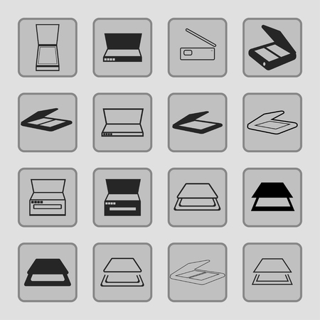 peripherals: scanners icon set
