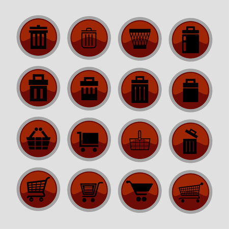 rubbish cart: store vector icon set