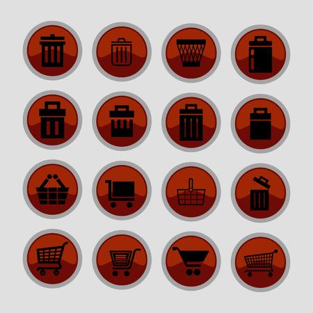 trashing: store vector icon set