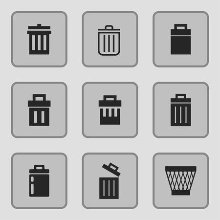trashing: bin icon vector set