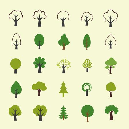 Trees icon set Vector