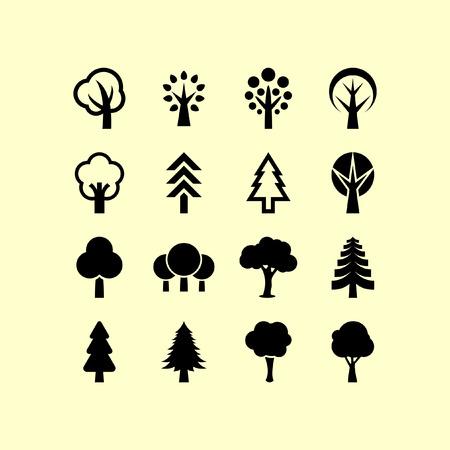 arbre: Arbres, icône, ensemble