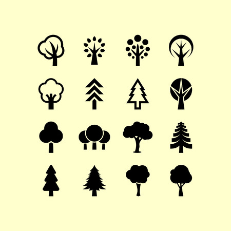 tree silhouettes: Trees icon set