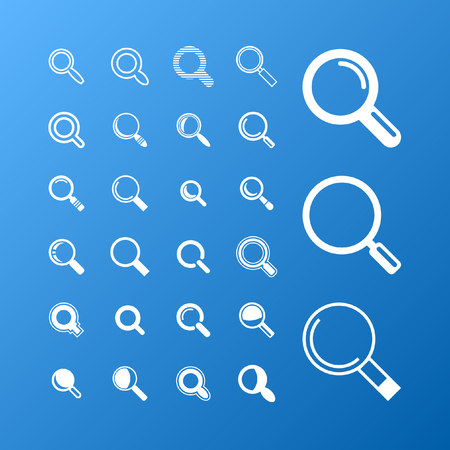 blue glass: search icon set Illustration