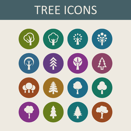 Trees icon set Vector