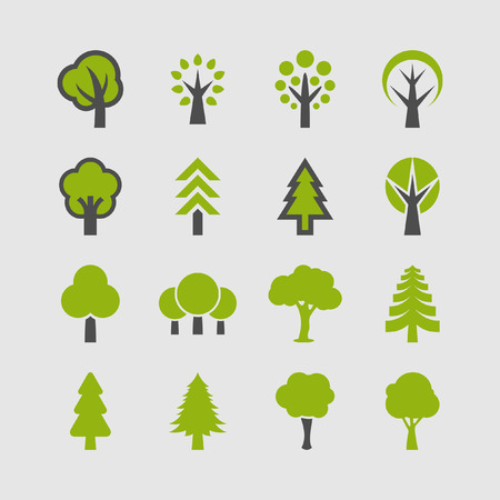 Trees icon set Archivio Fotografico - 32602217
