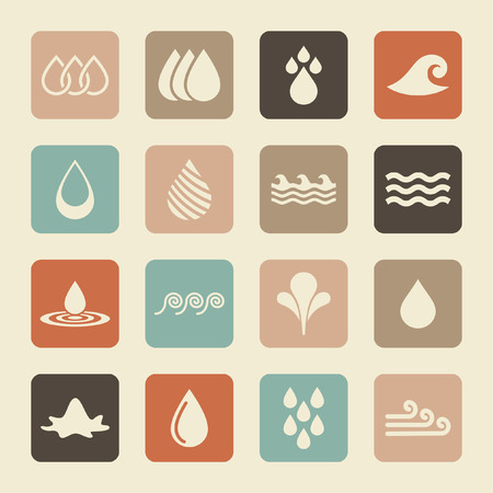 water ripple: water icon set Illustration