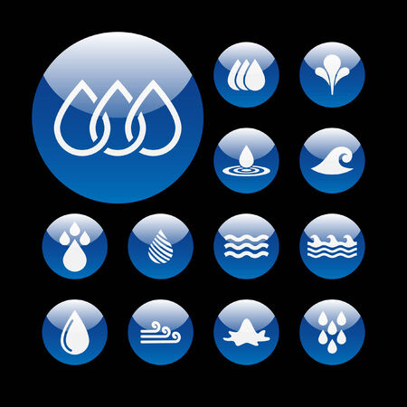 reflection in water: water icon set Illustration