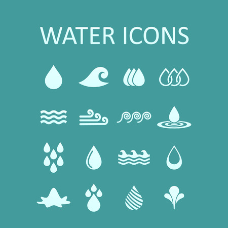 ocean wave: water icon set Illustration