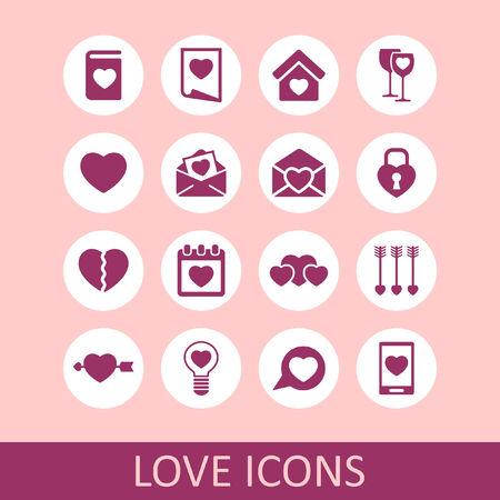 broken love: love icon set Illustration