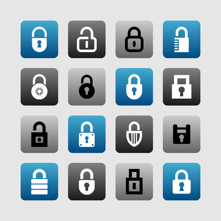 private security: lock icon set