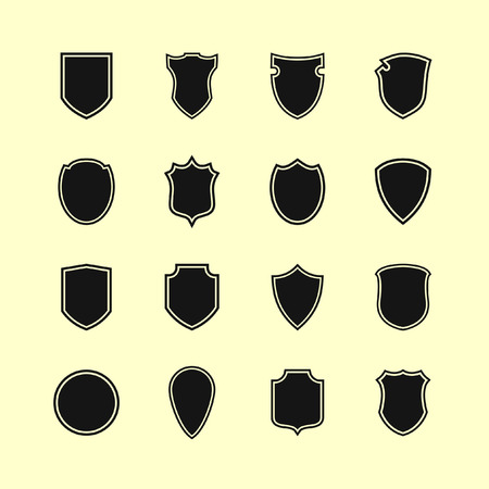 coat of arms  shield: shield icon set Illustration