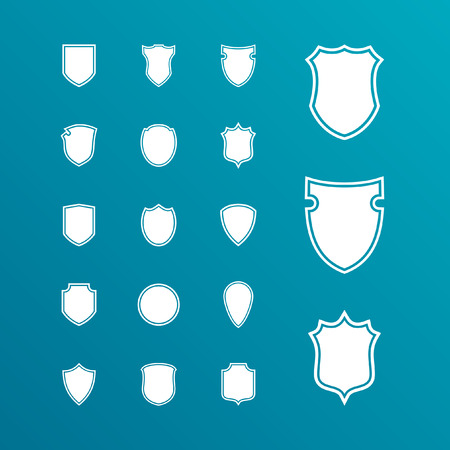 a collection of awards icon: shield icon set Illustration