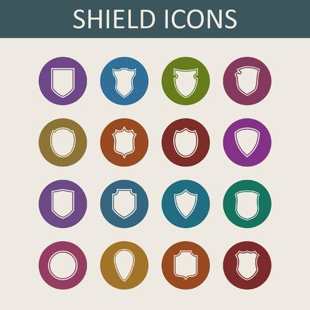 honor guard: shield icon set Illustration