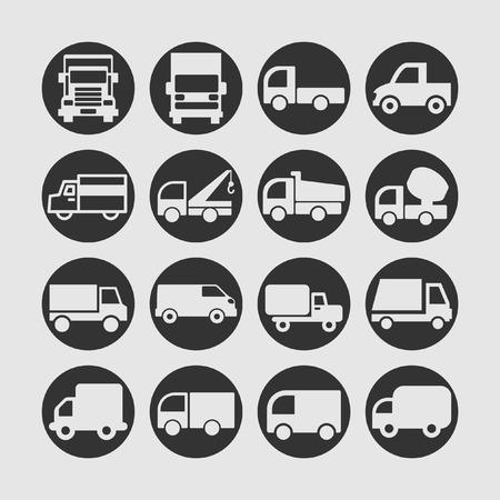 moving van: truck icon set Illustration