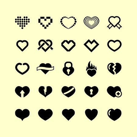 set di icone del cuore  Vettoriali