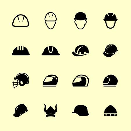 helmet icon set Vetores